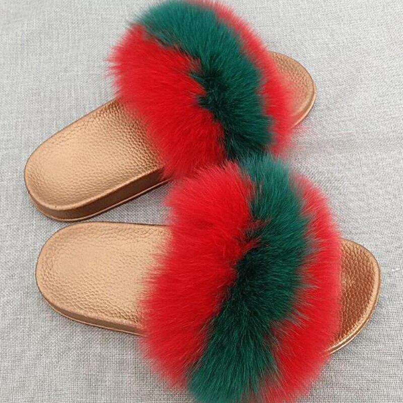 Disegno di modo della donna di inverno pantofole casa di volpe pelliccia pantofola pantofole di peluche pattini della signora delle donne flip flop mujer Dimensione Sandali delle signore 43