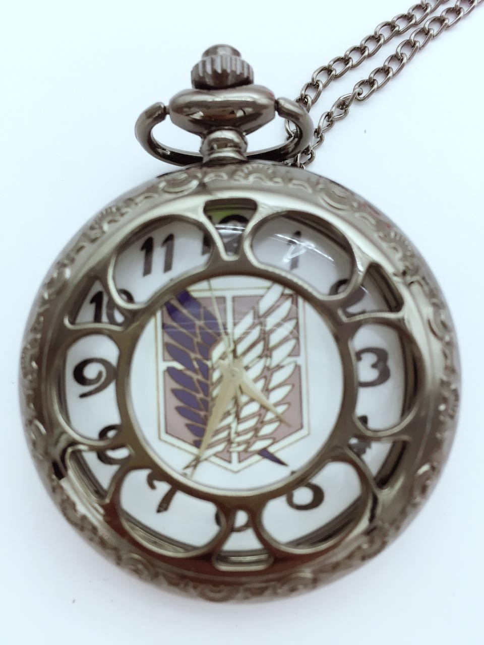 Vintage black sunflower Attack on Titan Hollow out Modern clock Necklace pocket watches gift