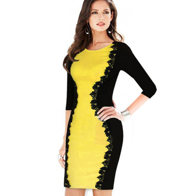 Vintage Fashion Women Elegant Floral Lace Crochet Patchwork Half Sleeve Colorblock Wear to Work Office Fitted Bodycon Dress 748