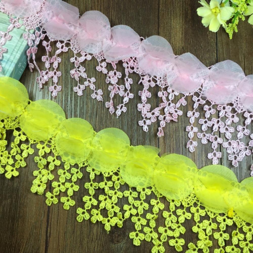 15yards White Pink Chiffon Rose Lace Fabric Flower Wedding Deco