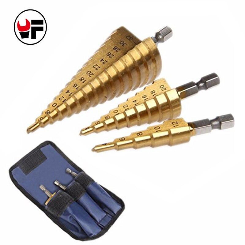3 pz/set Hss Titanium Step Core Punte da Trapano In Metallo foro Piastra Potenza di Perforazione strumenti 4-32mm/ 20mm/12mm di Taglio Lavorazione Del Legno DZ210