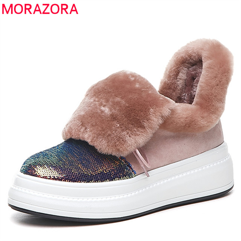 MORAZORA 2018 new fashion ankle boots for women lace up round toe winter shoes comfortable platform boots snow boots woman MORAZORA 2018 new fashion ankle boots for women lace up round toe winter shoes comfortable platform boots snow boots woman