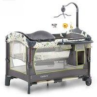 Роскошные детские кроватки valdera портативный складной кроватки многофункциональный детская кровать шить большая кровать колыбель для ново