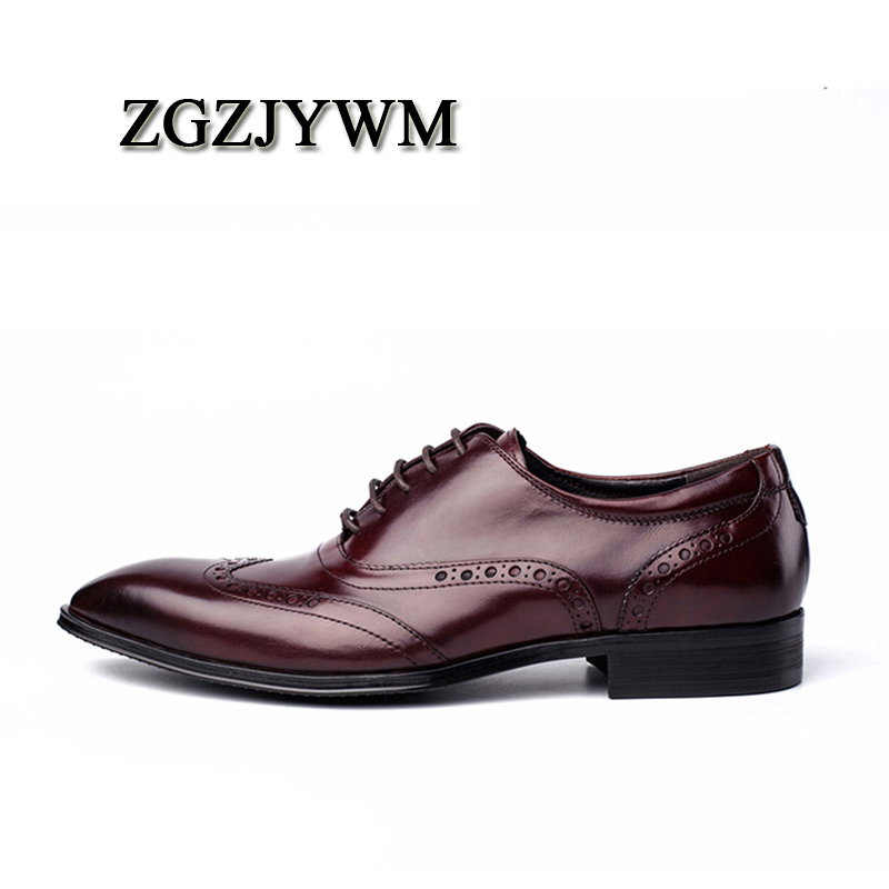 Britânico Apontado Couro Sapatos Design Genuíno Moda Marca Lace Oxford Dedo red De Homens up Para Bullock Black Zgzjywm Wine Produtos Esculpida z4w7XX