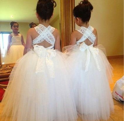 KE236 staps witte tule baljurk bloem meisje jurken patroon 2015 voor - Bruiloft feestjurken