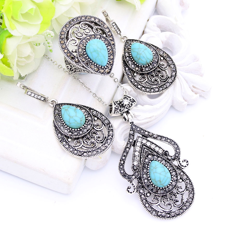 Vintage Turkish Women Green Stone Jewelry Sets Hollow Flower Necklace Hook Earring Ring Antique Color Arabesque