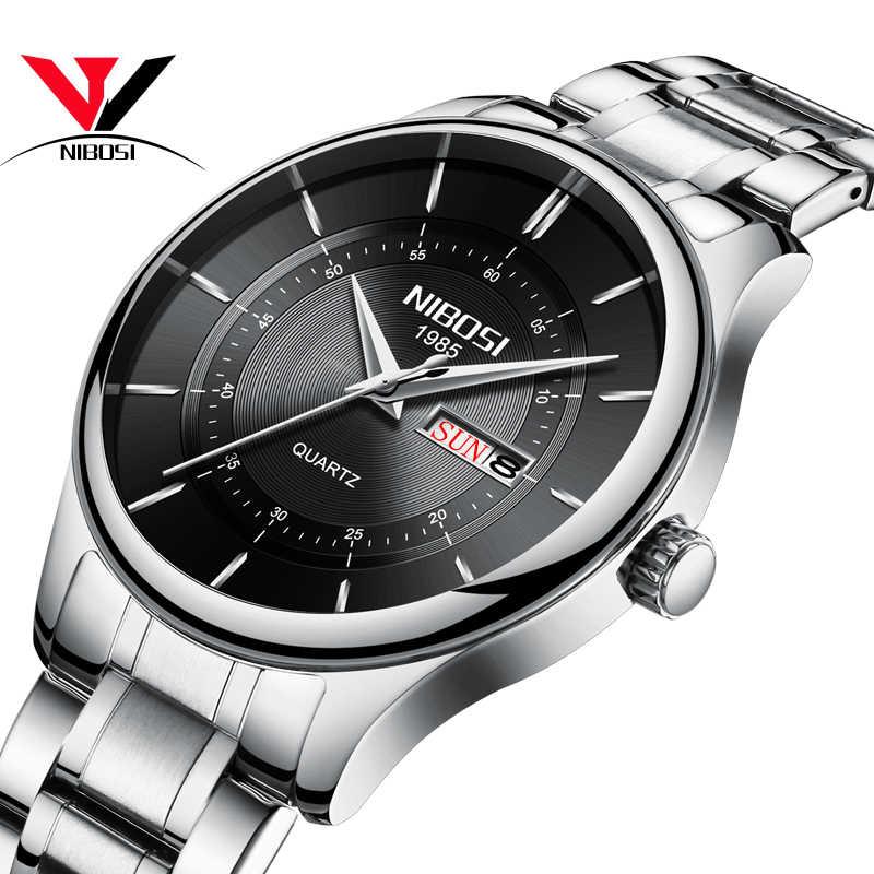 Reloj Nibosi 2019 para hombre, reloj de cuarzo automático de cuero para hombre, reloj deportivo impermeable de marca de lujo, reloj Masculino