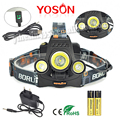 Boruit RJ-3001  3T6 Headlamp 6000 Lumens 3 x XML T6 Head Lamp LED camping Headlight with 18650 rechargeable battery & charger