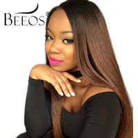 BEEOS Malaysian Remy Hair Human Straight Lace Front Wig With Baby Hair 150% Glueless Ombre Human Hair Wigs For Women Lace Wigs