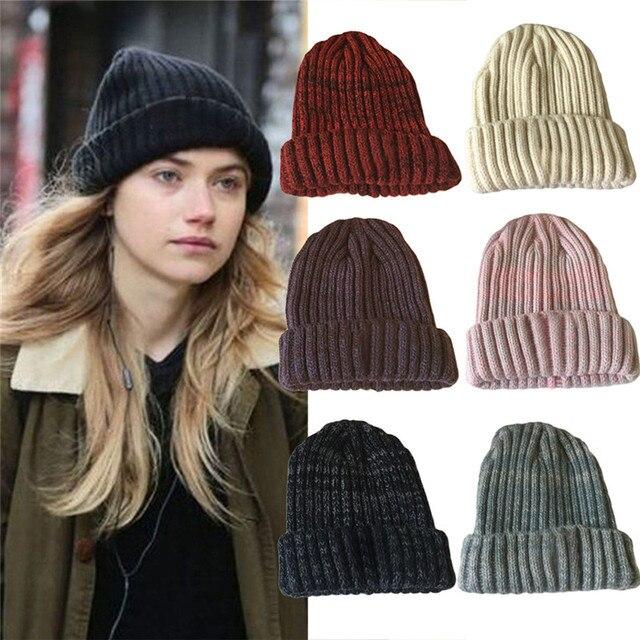 d24aa7553ce 2017 Wool Knit Beanies Women s Winter Hats Female Bonnet Caps Womens Hat  Brand Wool Fur Warm