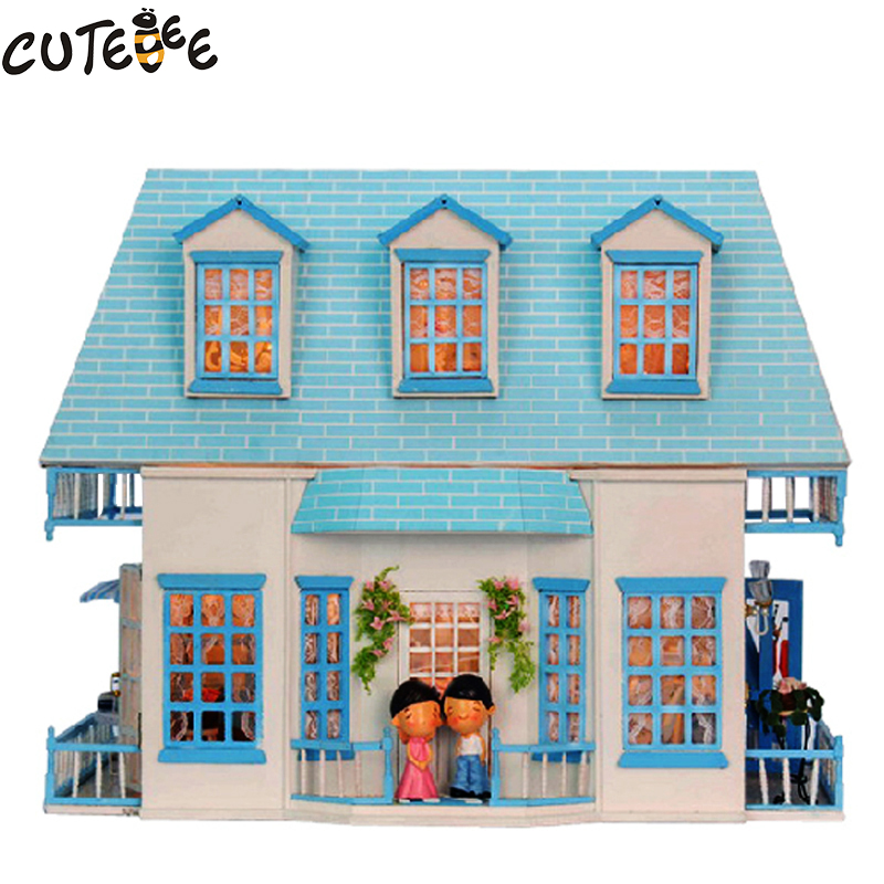 CUTEBEE Doll House Miniature DIY Dollhouse With Furnitures Wooden House  Toys For Children Birthday Gift 1308 cutebee new house wooden pretend play