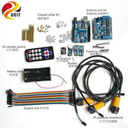 ИК управления комплект с ИК-приемник + UNO доска + мотор драйвер платы + отслеживая + избегание ИК препятствием + звонок для Arduino RC автомобиль