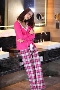 Image 4 - Spring 100% cotton 3 piece suits pyjamas women cozy Long sleeve pajamas sets simple sexy sleepwear pajamas for women Hot sale