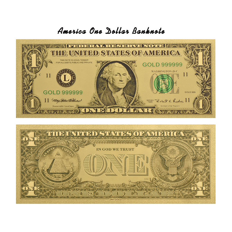 Wr American Colorful Gold Banknote Corporate Gift 24k 999 9 One Dollar Foil Fake Money With Showing Stand For Home Decor In Banknotes From