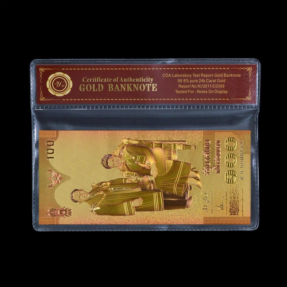 WRตกแต่งบ้านรายการ100บาทประเทศไทยที่มีสีสันทองธนบัตร999.9ทองชุบสกุลเงินบิลในกรณีพลาสติก1:1ขนาด