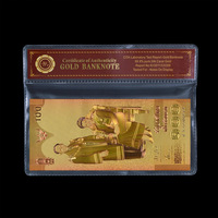 WR Home Decoration Items 100 Baht Thailand Colorful Gold Banknote  999.9 Gold Plated Currency Bill In Plastic Case 1:1 Size