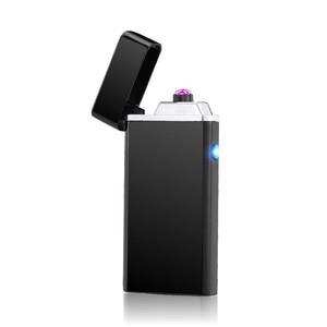Image 1 - Dostosować USB elektryczny podwójny łuk zapalniczki akumulator wiatroszczelna latarka zapalniczka papieros podwójny grzmot Pulse Cross zapalniczki plazmowe