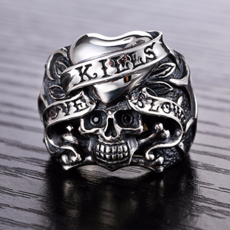 Image 4 - ZABRA 925 Silver Vintage Gothic Skull Ring Man Rings Heart Signet