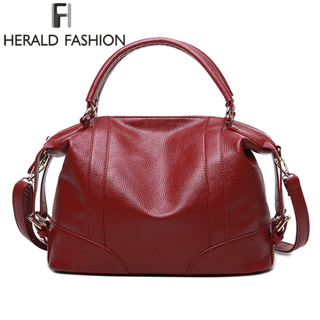 Herald Fashion Soft Leather Handbags Women Bag Zipper Las Shoulder Hobos Bags New