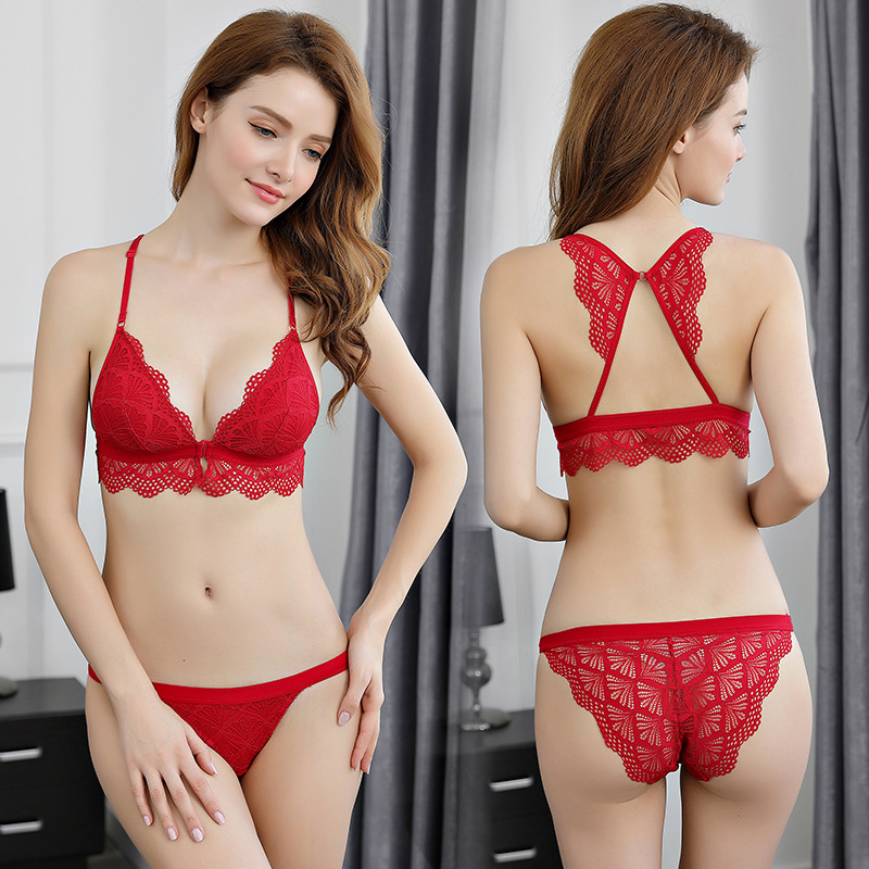 46cdc3ceba New Women Ultrathin Bikini Flower Seamless Bra Triangle Cup Lace Bralette  Set Sexy Lingerie Underwear Front Closure Y-line Strap