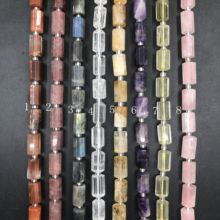 цена 8 Stone Choice 20pcs/strand,Natural Crystal Faceted Tube Cylinder Nugget Pendant Beads Amethysts Rose Lemon Quartz Labradorite онлайн в 2017 году