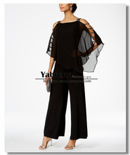 Black Overlay Top Mother of the bride pants suits Chiffon Two piece outfit 2019 New style