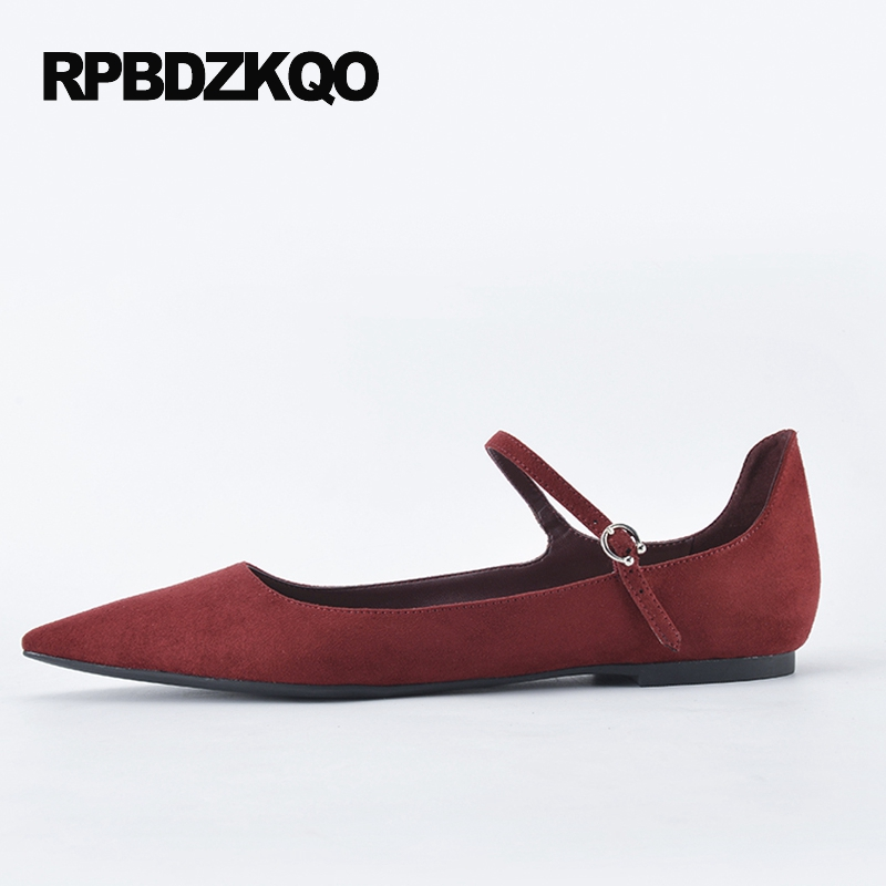 Pas cher 2017 appartements daim vin rouge peu profond usine directe chaussures bout pointu femmes sans lacet dames belles chaussures printemps européen