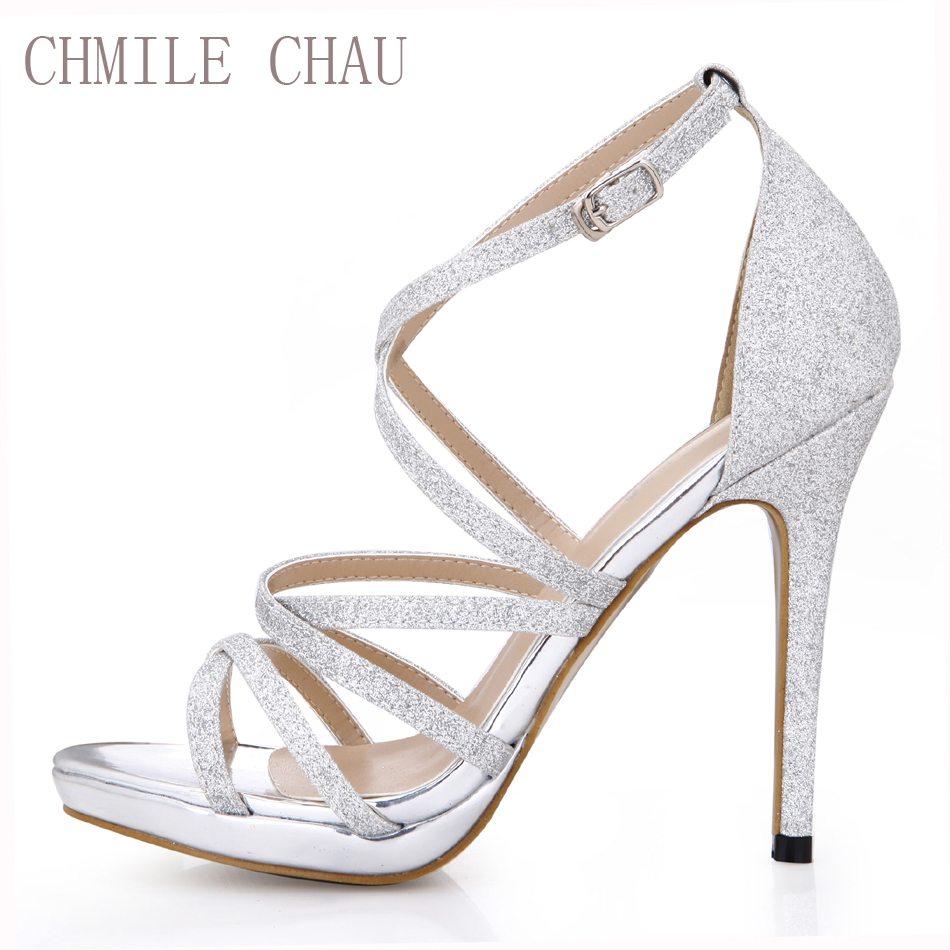CHILE CHAU Glitter Sexy Party Wedding Party Shoes Stiletto Heel Gladiator Rom Buckle Ankle Strap Pengantin Sandal 0640A-4c