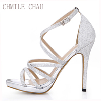 CHMILE CHAU Glitter Sexy Wedding Party Women Shoes Stiletto Heel Gladiator Rome Buckle Ankle Strap Bridal Sandals 0640A 4c