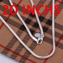 Silver Necklace Pendant,925 jewelry silver plated Necklace 3mm Snake Bone Necklace-20 N192-20 /PIWIFIVP RWWEAWKJ(China)