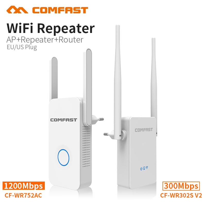 COMFAST Wireless Wifi Repeater 1200Mbps Dual Band / 300Mbps 2.4G Network Wifi Extender Signal Amplifier Signal Booster Repetidor