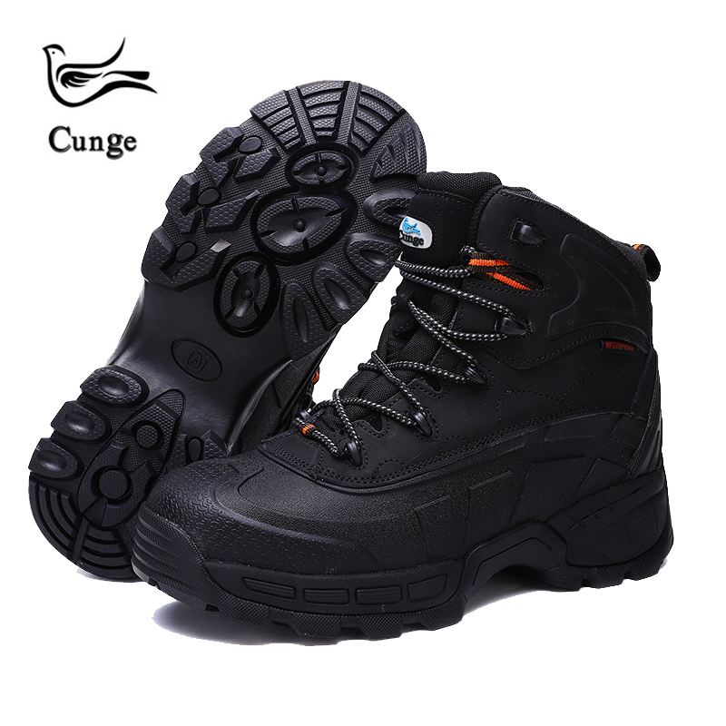 cunge Men Hiking Shoes Outdoor Work Shoes Construction Safety Boots Military Tactical Boots Waterproof Steel Toe