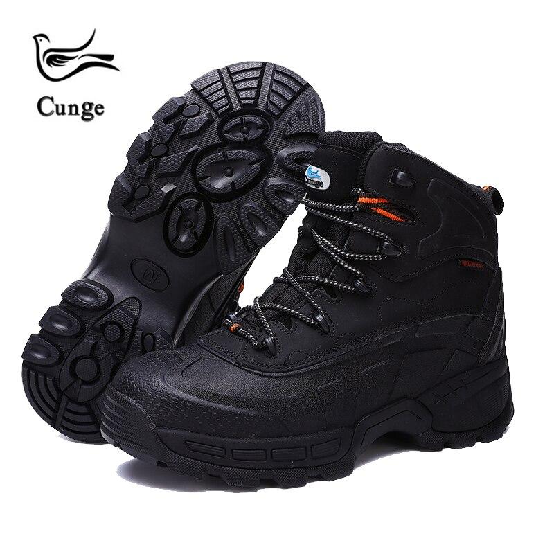 Cunge hommes chaussures de randonnée chaussures de travail en plein air bottes de sécurité de Construction bottes tactiques militaires imperméables en acier embout de sécurité chaussure