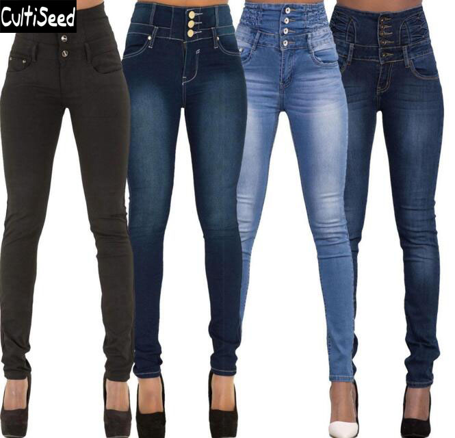 S-2XL High Waist Skinny Stretch Jeans Trousers Newest Women Autumn Long Slim Jeans Pencil Pants new women s vintage ripped high waist jeans pencil stretch denim pants female slim skinny trousers autumn winterjeans