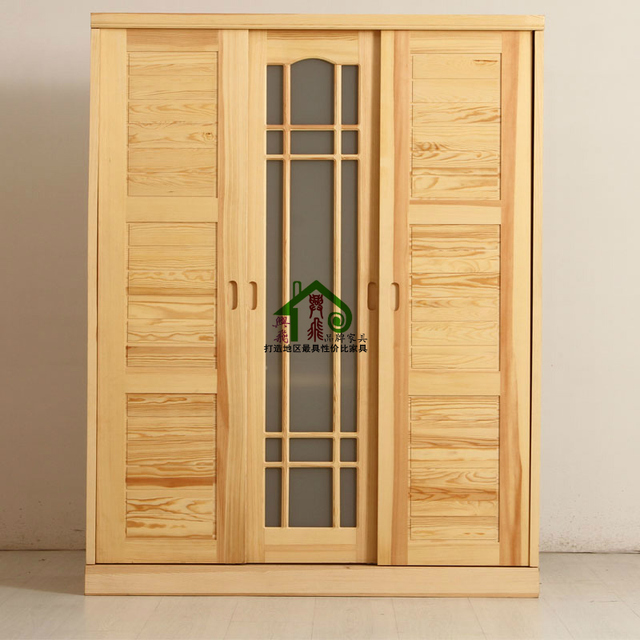 Solid Wood Furniture Solid Wood Wardrobe Sliding Door Wardrobe Closet  Special Children 1400 Pine National Capital
