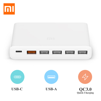 Xiaomi Mi USB-C 60W Charger Type-C & USB-A 6 Ports Output Dual QC 3.0 Quick Charger 18W x 2 + 24W (5V=2.4A MAX) For Smart Phone