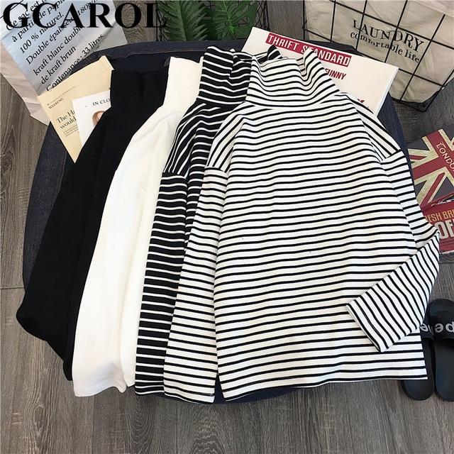 Striped Full Sleeve Stretch Tops Drop Shoulder Undershirt M-XL 1