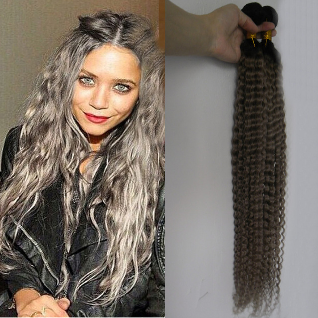 Afro Kinky Curly Grey Hair Weave 100 Virgin Silver Extensions Deep