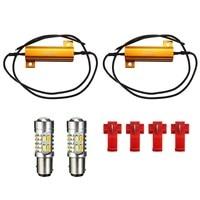 1 Pair 5730 1157 LED Turn Signal Light Bulb Dual Color Switchback 2 Resistors White Amber