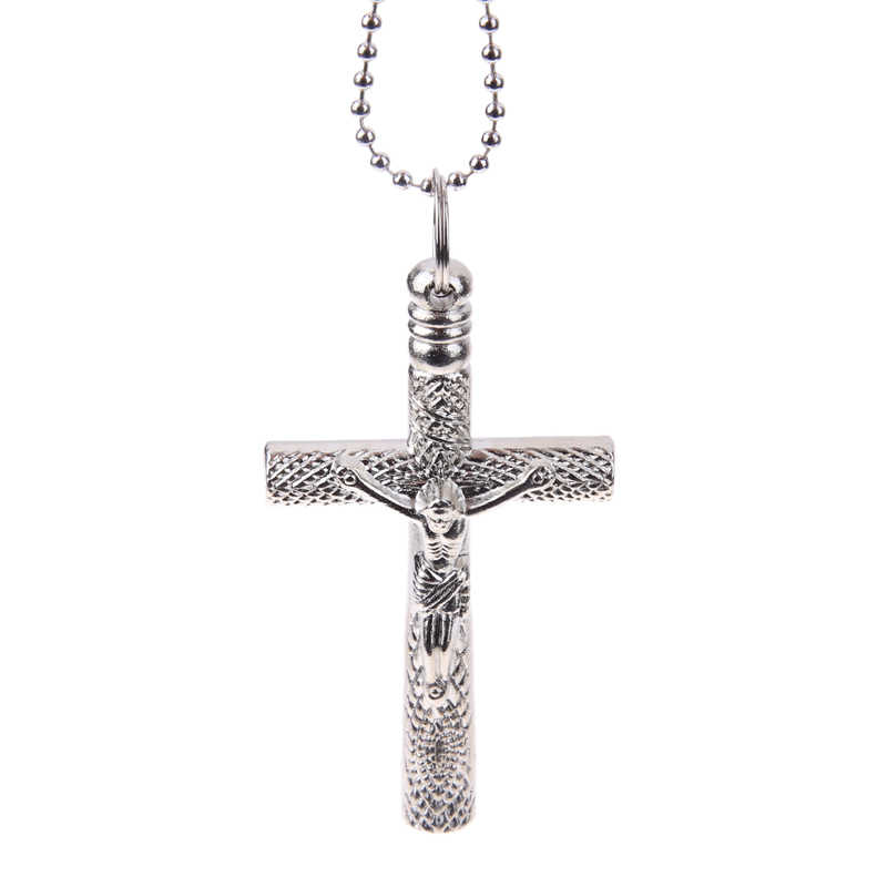 Steel Key Chain Silver/Black Cross Christian Necklace Cross Drum Keys Jazz Wrench Head Tuning Drums Tool  Gift Accessories 2pcs