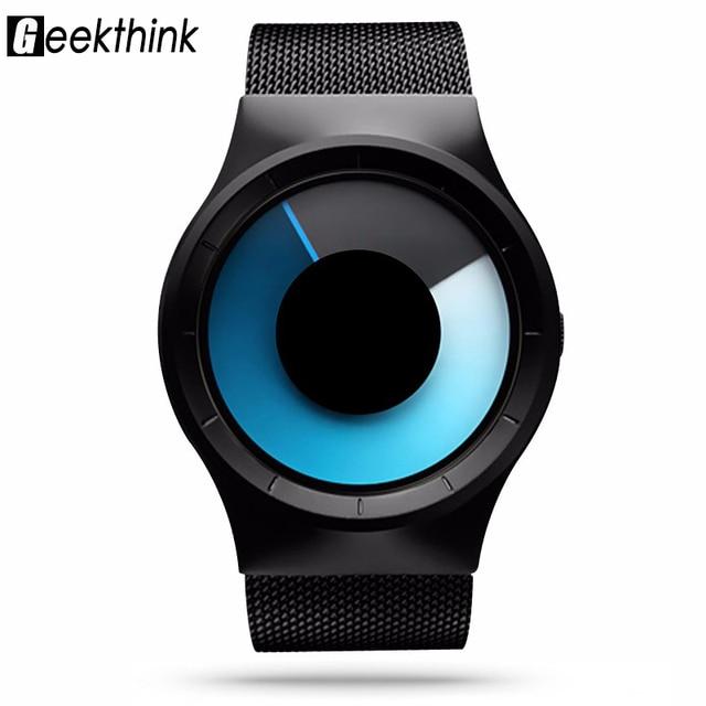 Geekthink Моды Случайные Кварцевые часы Мужчин Роль Нержавеющей Celeste Часы Уникальный дизайн Серии Северное Сияние Часы с подарочной коробке