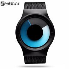 Geekthink Moda Casual relógio de Quartzo Dos Homens Inoxidável Papel Celeste Relógio projeto Original Série Luzes Do Norte Relógio com caixa de presente