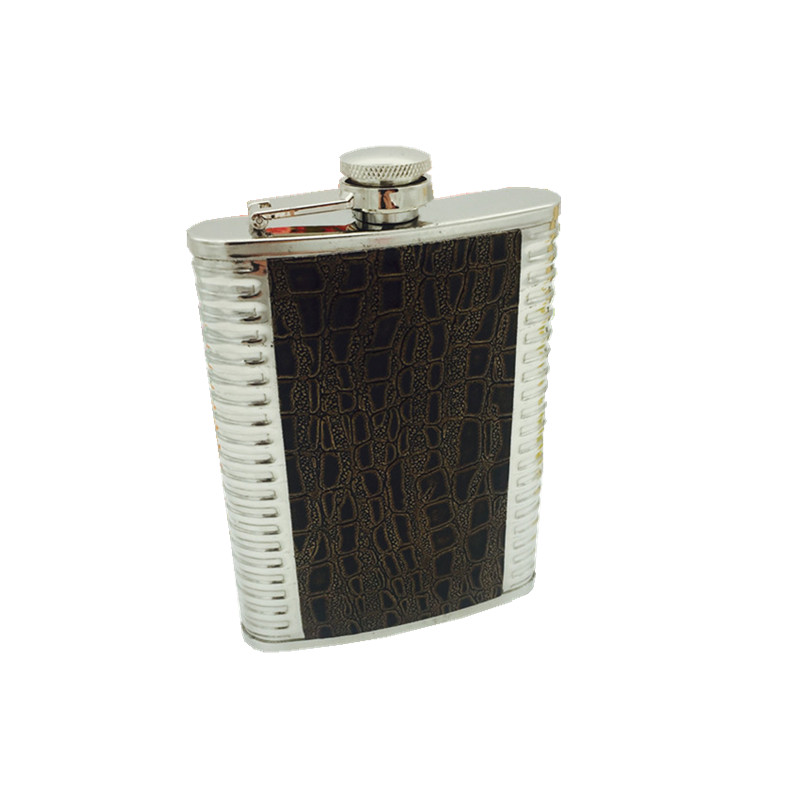 2017 hot sale 8oz ounce Stainless steel 304 vodka hip flask Whisky Moscow cccp flagon with pu leather