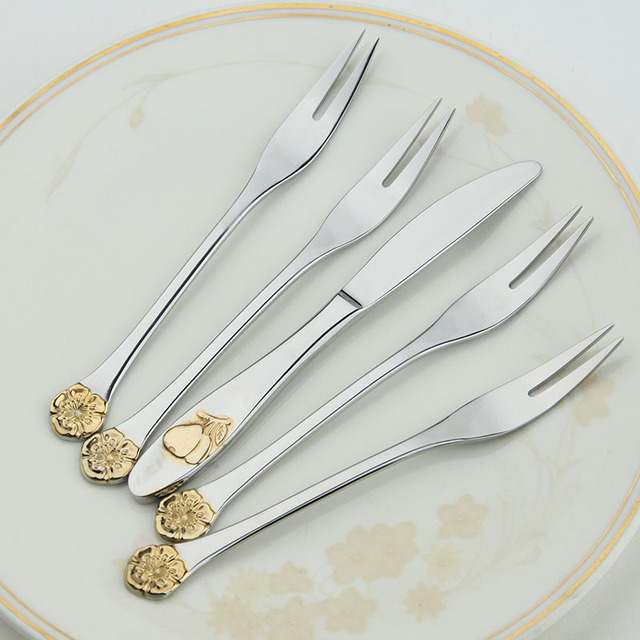 Cutlery Steel Set Classic Cutlery Set  Quality Retro Dessert Fruit Knife Fork Dining Set Dinner Sets Western Wedding Decoration