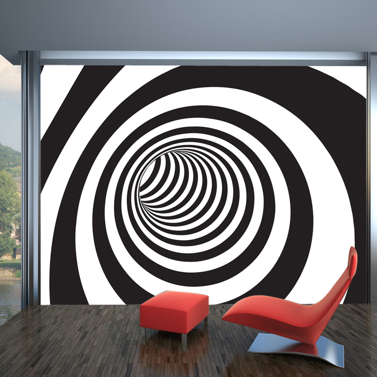 Wholesale 3d Papel De Parede Spiral Black And White Murals Wallpaper For Living Room 3d Wall Photo Mural Vinyl Wall Sticker