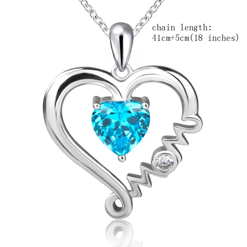 925 Sterling Silver CZ Mom Necklace 18 Length