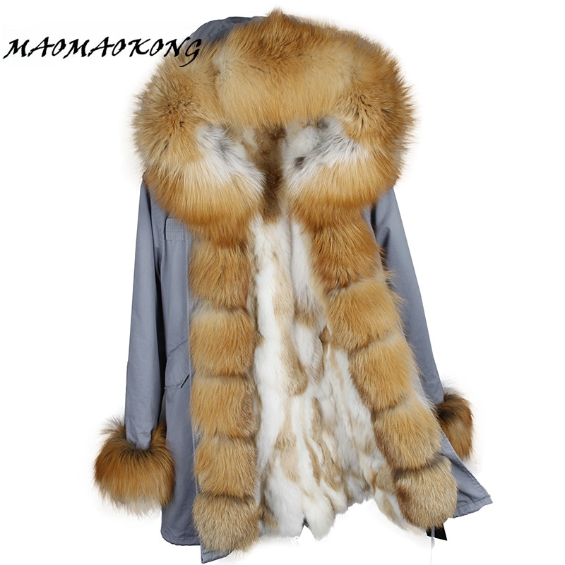 Brand 2017 New Women Winter Coat Real Fox Fur Hood Thick Rabbit Fur Lining Woman Parkas Female Overcoat Winter Clothing maomaokong real fox fur 2017 new fashion winter coat long hood rex rabbit hairpin to overcome jacket girl