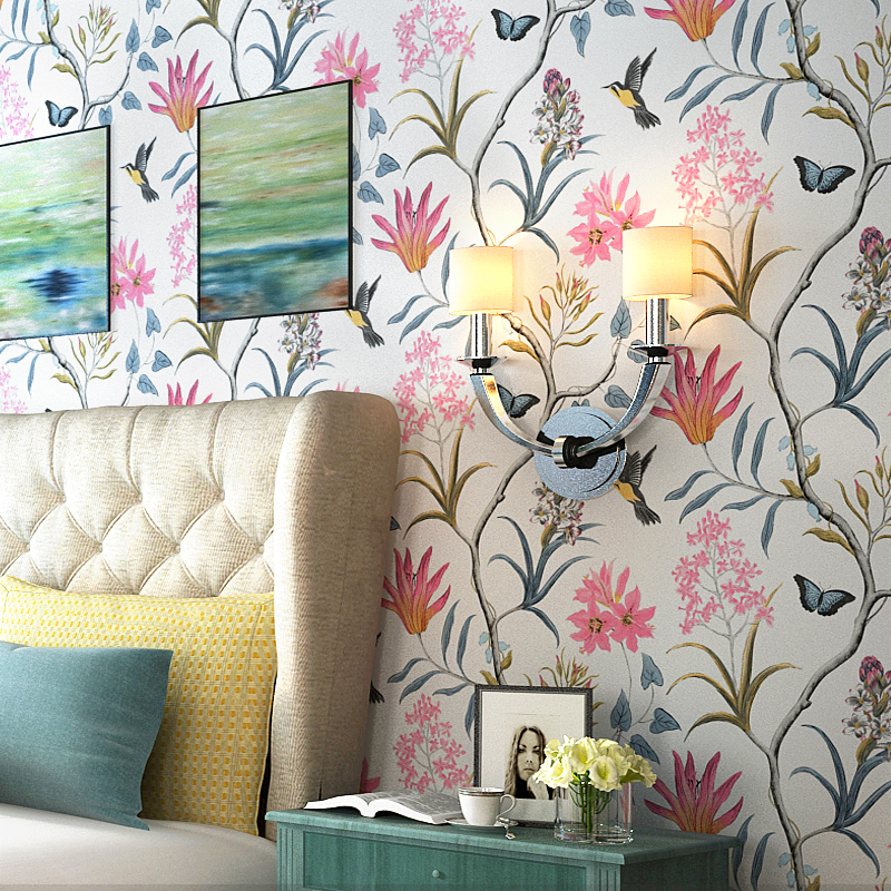 American Village Wall paper Fresh Pastoral Birds flowers Bedroom Living Room TV Background Nonwovens Mediterranean Wallpapers
