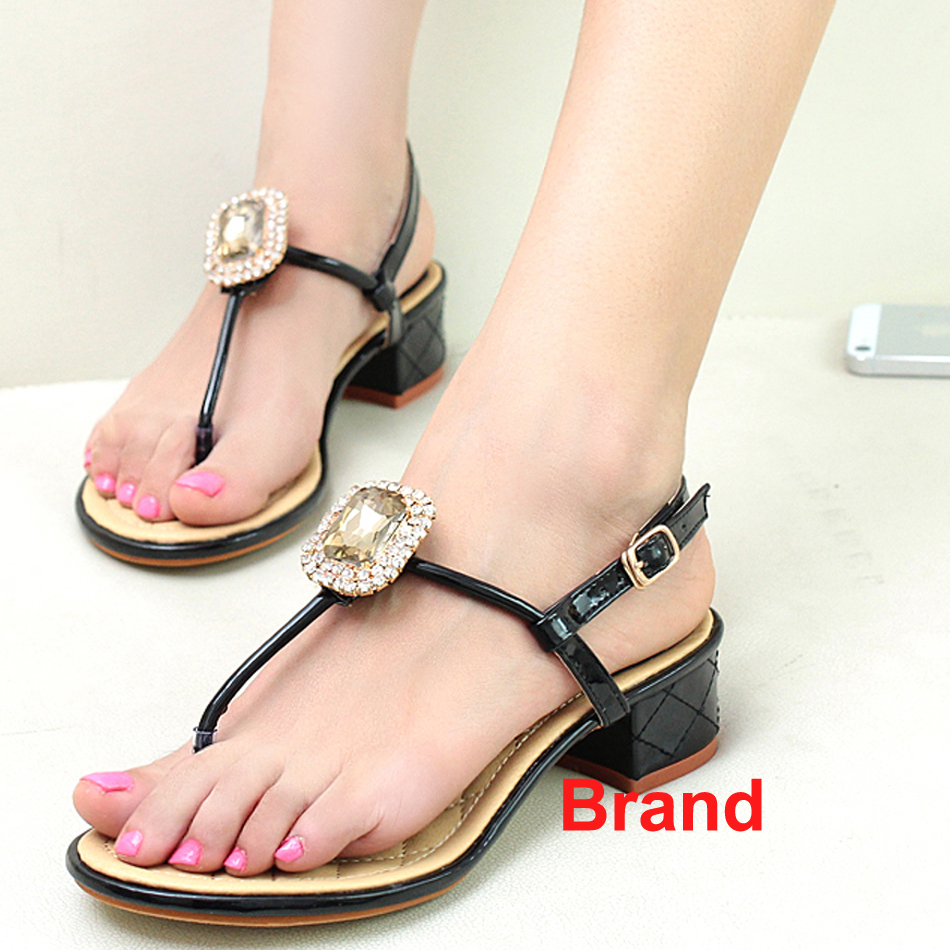 475df3f66 Famous Brand Rhinestone Hot Sale Square Crystal Black White Pink Women  Sandal Flip Flops Women Size 8 39 Summer Shoe Footwear