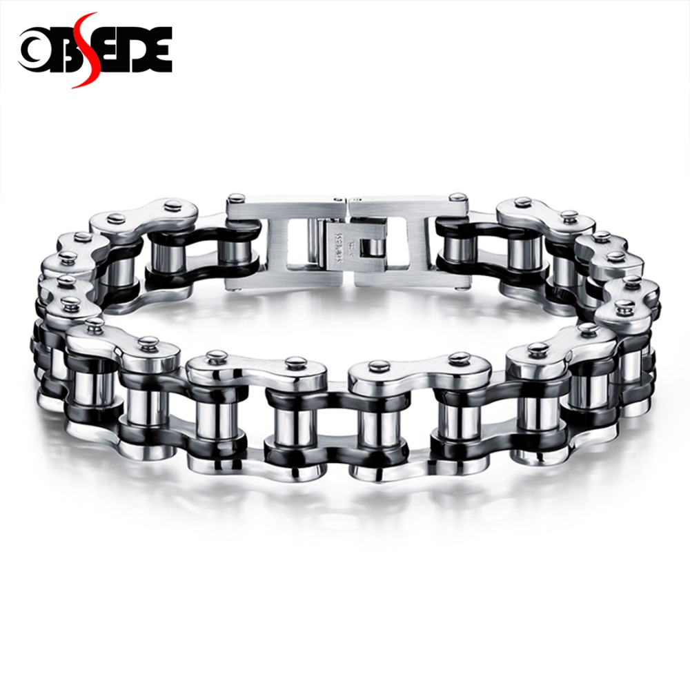 OBSEDE Punk Men Bracelet Biker Bicycle Motorcycle Chain Men's Bangles 316L Titanium Stainless Steel Jewelry Fashion Gifts Rock punk 316l stainless steel bracelet men biker bicycle motorcycle chain men s bracelets mens bracelets